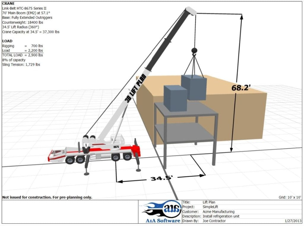 A 3D lift plan used to prepare for a lift