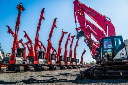 Cranes lined up at Portland Triad Machinery location